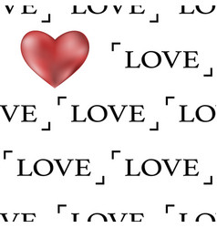 valentines day seamless pattern with red 3d heart vector image