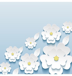 Wallpaper with 3d flowers sakura and leaf vector image