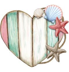 Watercolor nautical wooden sign vector