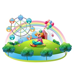 An island with a female clown and an amusement vector image vector image