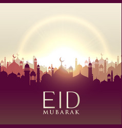 eid mubarak card with mosque silhouttes vector image vector image