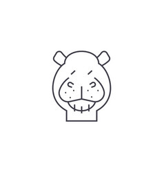 hippo line icon sign on vector image