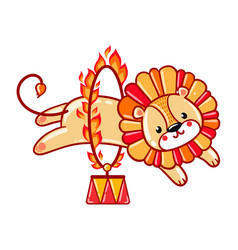 lion jumping through a flaming ring vector image vector image