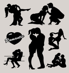 Romantic love couple silhouette 2 vector image vector image
