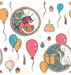 seamless pattern with cats and birthday vector image