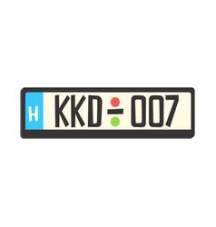car registration number plate colorful cartoon vector image