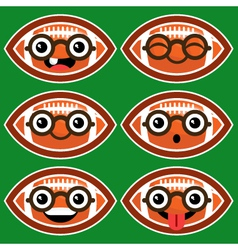 Cartoon American Footballs with Eyeglasses vector image vector image