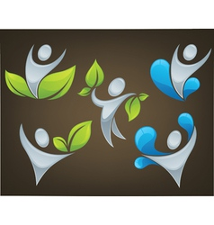 ecological people on dark brown background vector image vector image