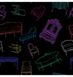 rococo furniture pattern on black vector image