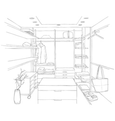sketch drawing of a dressing room with furniture vector image vector image