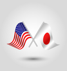 two crossed american and japanese flags vector image
