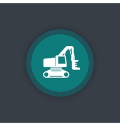 Forest harvester icon track feller buncher timber vector image vector image