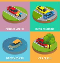 isometric pedestrian hit road accident drowned vector image vector image