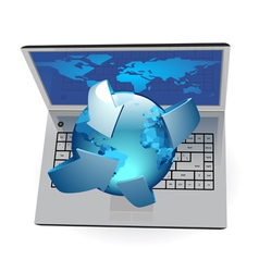 Laptop and Globe vector image