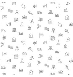 real estate icon seamless monochrome pattern vector image vector image