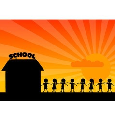 school woth children vector image