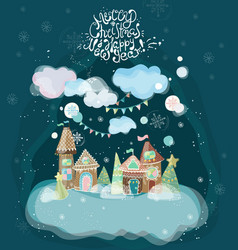 beautiful holiday with gingerbread houses vector image vector image