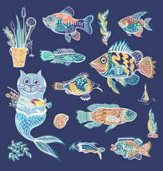 creative sea life set vector image