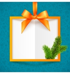 Orange squared frame with ribbon bow and vector image vector image