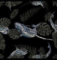 seamless pattern with whales and tropical leaves vector image vector image
