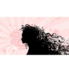 Silhouette of Woman head with Music Hair Stock vector image vector image