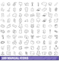 100 manual icons set outline style vector