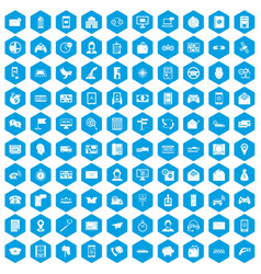 100 telephone icons set blue vector