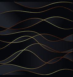abstract black waves background gold glitters wave vector image