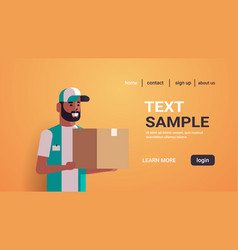 african american courier man holding cardboard vector image