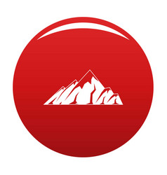 Alpine mountain icon red vector