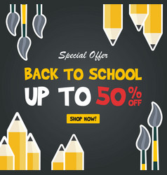 Back to school sale sign vector