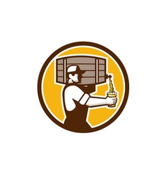 Bartender Carrying Keg Pouring Beer Circle Retro vector