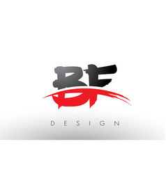 Bf b f brush logo letters with red and black vector