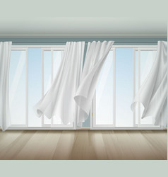Billowing curtains open window vector