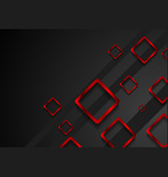 Bright red metal squares on black background vector image