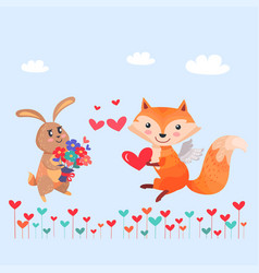 Bunny with bouquet of flowers and fox with wings vector