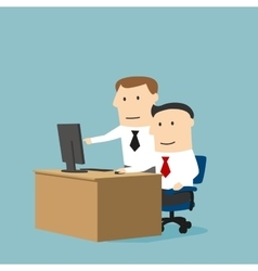 Business collegues working together using computer vector image