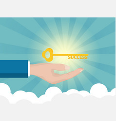 businessman hand holding golden key of success vector image