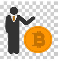 Businessman show bitcoin coin icon vector