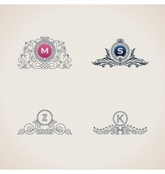 Calligraphic flourishes luxury monogram set Line vector