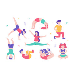 children doing physical exercises set various vector image