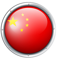 China flag design on round badge vector