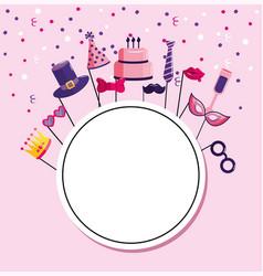 Circle emblem with decoration happy birthday vector