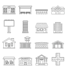 City infrastructure items icons set outline style vector