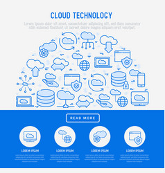 Cloud computing technology concept in half circle vector