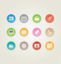 Colorful web and mobile icons vector