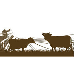 Cows and farm rolling hills landscape vector