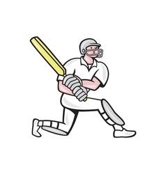 Cricket player batsman batting kneel cartoon vector