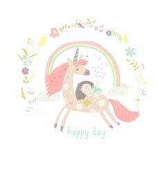 Cute cartoon girl with unicorn vector
