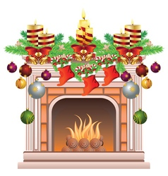 Decorated Christmas Fireplace vector